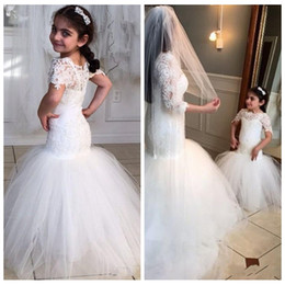 cute mermaid wedding dresses Australia - Cute Lace Short Sleeves Mermaid Flower Girls Dresses Tulle Skirt Sweep Train Formal Kids Slim Wedding Party Wear Lovely 2016 Princess