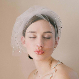 Barato Véu Blusher Vintage-Vintage Birdcage Wedding Veils Face Blusher Wedding Hair Pieces 4 Tiers With Beads Short Bridal Headpieces Bridal Veils # V0003