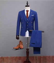 Barato Melhores Ternos Formais Mens-Formal Ocasional Fatos masculinos Slim Fit Groom Tuxedos Fatos de noiva Mens 3 Pieces (Jacket + Pant + Vest) Royal Blue Business Ternos Best Man Tuxedos