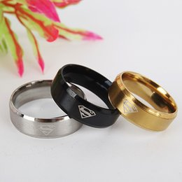 $enCountryForm.capitalKeyWord Canada - 316L 8MM Titanium Stainless Steel Rings Simple Men Ring Superman Logo Finger Rings 3 Colors Fashion Band RINGS