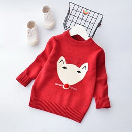 Vêtements En Bétail À Renard Pas Cher-Everweekend Kids Knitted Fox Sweater Tops Candy Color Sweet Lovely Enfants Vêtements Western Fashion Baby Blouse