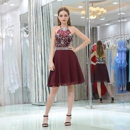 $enCountryForm.capitalKeyWord NZ - Custom made beaded rhinestone zipper backless homecoming dresses knee length chiffon maid of honor party short prom gowns
