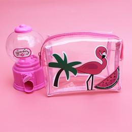 TransparenT cuTe carToon case online shopping - Flamingos Transparent Storage Bag Cosmetic Bag Small Cellphone Case Cute Cartoon Clear Storage Toiletry Travel Organizer Bag