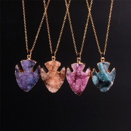 $enCountryForm.capitalKeyWord Canada - Nice Fish Shape Natural Quartz Agate Pendants Necklace Collar Drusy Amethyst Druzy Beads Stone Cabochon Gold Plated Chain Statement Necklace