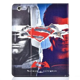 $enCountryForm.capitalKeyWord Canada - 100pcs lot Cool batman super man fold stand leather cover skin for Apple ipad 5 air 6 air2 mini 234 leather case