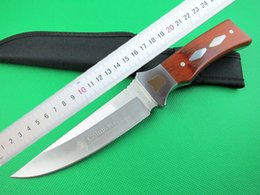 Wholesale Fixed Blade Canada - Wholesale Colum bia K309B Survival straight knife 440C 56HRC Satin Finish blade wood handle fixed blade knife with nylon sheath