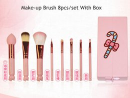 Wholesale Pink Lovely Cartoon Hello Kitty Make Up Tool Cosmetic Brush 8pcs Set Professional Makeup Brushes Birthday Gifts