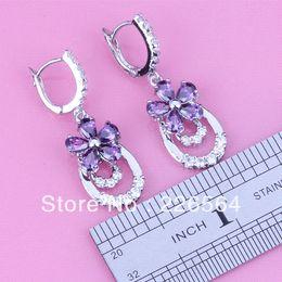 Venta al por mayor de Nueva llegada ! Divine Purple Amethyst White Topaz Silver 18K Gold Filled Fashion Drop Earrings E450