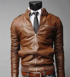 sports strip Canada - Wholesale free shipping large size casual brown black winter autumn PU leather man sport auto windproof motorbike rider jacket coat