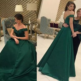 Barato Vestidos Sexy De Linha Verde-2017 Sexy Off the Shoulder Prom Dresses A Line Crystals Appliques de renda Open Back Dark Green Floor Length Evening Party Gowns barato