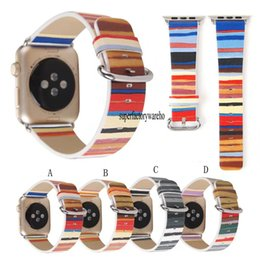 Striped Watch Straps NZ - New for apple watch strap striped leather strap iwatch strap 38MM 42MM
