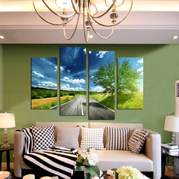 $enCountryForm.capitalKeyWord Canada - 2016 Hot Sales Frame 4 Panels Picture road landscape painting Canvas Print Painting Artwork Wall Art Canvas painting Wholesale
