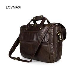 1642db48a530 Wholesale- luxury men s leather briefcases Male business handbags Vintage  laptop bags Messenger bags for men shoulder bag