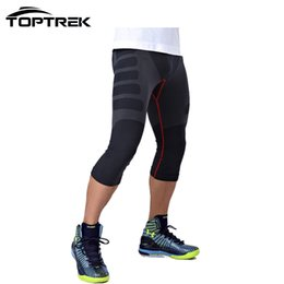 China Wholesale-Toptrek Clothes Men Tight Calf-Length Pants Quick Dry Light Compression For Outside wears cheap blue outside lights suppliers