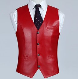 $enCountryForm.capitalKeyWord NZ - Men's Red Genuine Leather Vest 100% Lambskin Leather Jacket Slim Fit Sheepskin Waistcoat Business Coat High Qulity