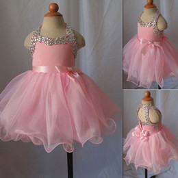 $enCountryForm.capitalKeyWord Canada - Toddler Pageant Dresses For Girls 2016 Pink Crystal Beaded Open Back Cupcake Pageant Gowns Tulle Ball Gown With Sash Bow Kids Prom Dress