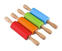 $enCountryForm.capitalKeyWord UK - 22.5*4.3CM Small Size Children Wooden Handle Pastry Baking Tool Dough Silicone Rolling Stick Children Toy Rolling Pin