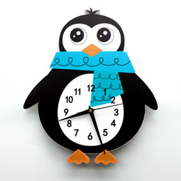 CloCk abstraCt online shopping - European style D Cartoon Penguin Watch Wall Clock Silent and Damp Proof Eco friendly Foaming Board Decor for Kids Room