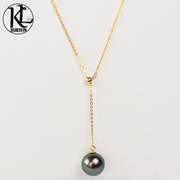 pearl pendant designs gold Australia - fashionable design Genuine natural culture 9-10mm tahitian pearl jewelry 18K gold adjustable Tahiti Black Pearl Pendant necklace for women