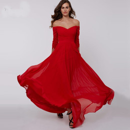 Free Gift Picture NZ - 2017 red A-line long evening dress cheap off the shoulder zipper up 3 4 length sleeves pleats ruched chiffon prom dress gift free shipping