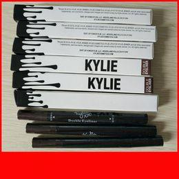 Matte eyeliner pens online shopping - Kylie Double end Waterproof Double Sided Liquid Eyebrow Pen Eyeliner Eye Liner Pencil Makeup Cosmetic Tools Black Brown