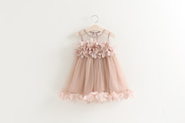 $enCountryForm.capitalKeyWord Canada - Girls princess dress summer new children lace gauze petals tulle tutu dress kids vest party dress pink white girls clothes A8677