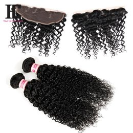 Discount 7a hair bundles closure - 7A Mongolian Kinky Curly Hair With Closure Full Lace Frontal 2 Bundles With Frontal Closure Human Hair Bundles With Lace