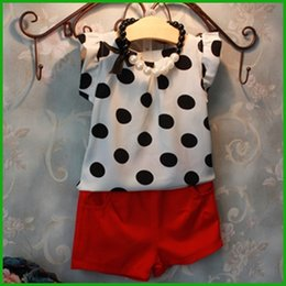 $enCountryForm.capitalKeyWord Canada - korean black dot sleeveless tops baby girls red short pants new fashion children girls suits summer style free shipping