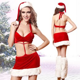 Costume Sexy Santa Pour Femme Pas Cher-Sexy Lingerie Christmas Hats + Sexy Dress Costumes Femme Santa Claus Cosplay Dress Exotic Sets Xmas Underwear Costumes de nuit