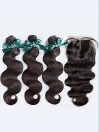 High Quality Sheds NZ - 8A High Quality Malaysian Loose Wave with Silk Base 4*4 Lace closure No Shedding Free Tangle Full Thick Free Shipping Fee Hair Extenstion