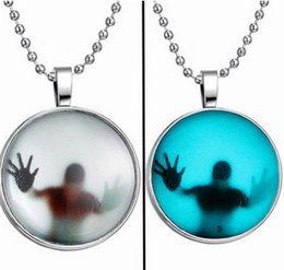 Wholesale High quality jewelry Halloween Stainless Steel Chain necklace Night Lights Pendant Necklace party jewelry