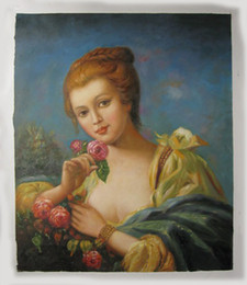 Paintings Old Ships NZ - Free shipping hand-painted canvas oil painting #452 old classical reproduction noble lady for home dinning room bedroom wall decoration