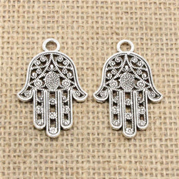 $enCountryForm.capitalKeyWord NZ - Wholesale 32pcs Charms Tibetan Silver Plated hamsa palm hand protection 42*28mm Pendant for Jewelry DIY Hand Made Fitting
