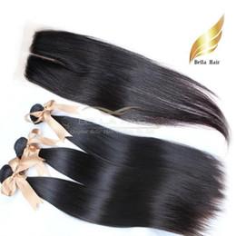Venta al por mayor de Cierre de cabello brasileño Paquetes de cabello con cierre de encaje Parte media Sedoso Recto Grado 8A Color natural 8-34 pulgadas Envío gratis Bella