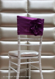 $enCountryForm.capitalKeyWord Canada - Custom Made 2016 Feminine Purple Taffeta Chair Covers 3D Flower Chair Sashes Romantic Wedding Decorations Wedding Supplies