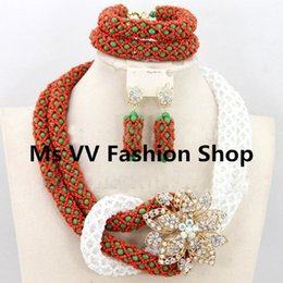 $enCountryForm.capitalKeyWord Canada - 2019 new arrival green red white exquisite nigerian wedding Crystal Beads bridal party Necklace Jewelry Set African Costume Jewelry Set