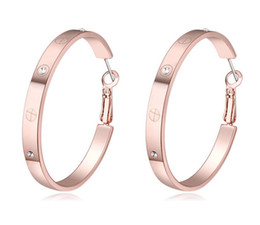 Chinese  Earrings Jewelry Fashion Women High Quality Austrian Crystal 18K Gold Plated Hoop Earrings Wholesale Drop Shipping TER092 manufacturers