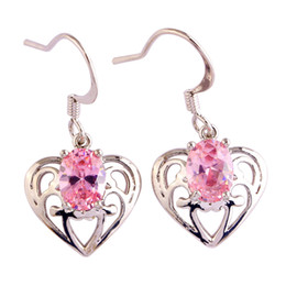 $enCountryForm.capitalKeyWord Australia - Eardrop Charming Lab pink CZ Silver Plated dangle Hook Earrings Fashion Jewelry Women Wholesale Free Shipping