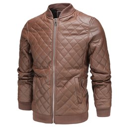 men winter brown jacket UK - Winter New Arrival Mens Rhombus PU Leather Jackets British Motorcycle Style Stand Collar Outerwear Fashion Jacket for Men