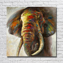 decor designs Australia - Top quality handmade cartoon elephant oil painting pictures realistic design wild animal oil painting canvas wall art decor