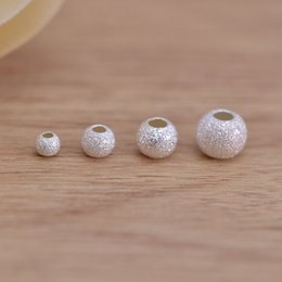 $enCountryForm.capitalKeyWord NZ - S925 Sterling Silver Frosted Loose Beads 3mm-6mm Big Hole Ball Plunger For DIY Handmade Bracelet Necklace Jewelry Accessories