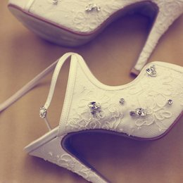 bridal peep toe heels Australia - White Lace Rhinestone Platform Peep Toe Bridal Heels Sandals Women's Cross Party Prom Shoes White Wedding Shoes
