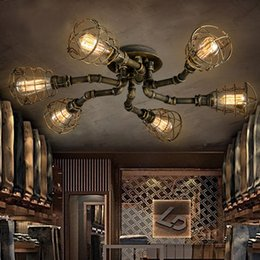Discount cool bar lamps 2018 cool bar lamps on sale at dhgate american retro style industrial loft ceiling lamp creative personality iron pipes restaurant bar living room ceiling light budget cool bar lamps aloadofball Gallery