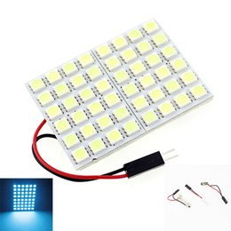 festoon adapter bulb Canada - 48 5050-SMD LED Panel Light + 31mm 42mm Festoon Dome Adapter Bulb Lamp Iceblue + T10 + BA9S 12V