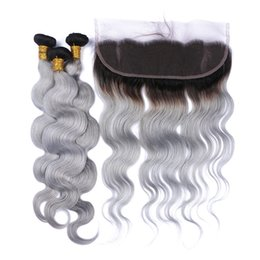 $enCountryForm.capitalKeyWord NZ - Virgin Brazilian Silver Grey Ombre Human Hair with Lace Frontal Closure Body Wave 2Tone 1B Grey Ombre 13x4 Full Lace Frontal with 3Bundles