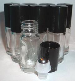 Vente en gros 300pcs Rechargeable Épais 5 ml 1 / 6oz MINI ROULEAU SUR Verre Clair BOUTEILLES HUILE ESSENTIELLE En Acier Métal Rouleau à billes parfum PARFUM