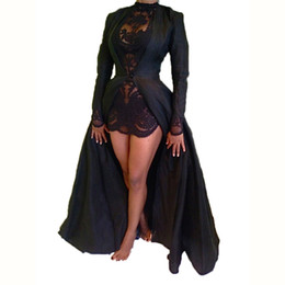 Costumes De Femmes En Soie Noire Pas Cher-2016 Major Fashion élégant NOIR Suit-robe en mousseline de soie Sexy long manchon maxi plage LACE été pour womens bodycon vêtements dames robes