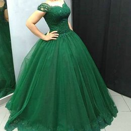 green lace sequin NZ - Charming Ball Gown Arabic Green Tulle Prom Dress Beads Sequins Lace Appliques Puffy Evening Party Gowns Custom Made