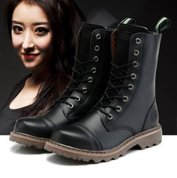 Women Genuine Leather Motorcycle Boots NZ - New England Style 100% genuine leather Martin Boots Martin Shoes woman Designer Motorcycle Boots