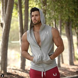 Barato Roupas Masculinas Masculinas-Venda por atacado-Muscle Dr. Fitness Brothers Men Hooded sem mangas Running Slim Vest estilo Jogging Gym Clothing